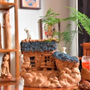 泥塑作品:泥塑房屋系列